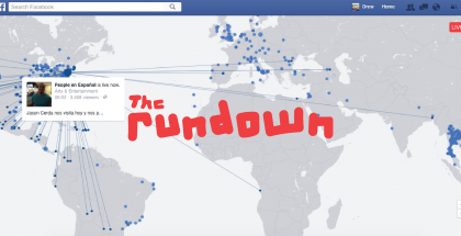 The Rundown logo on top of social media platform Facebook, showing the new live streaming video map.