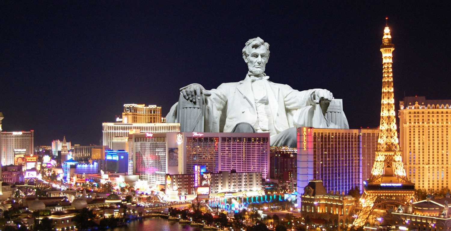 Abraham Lincoln sits within the skyline of Las Vegas, home to the ICSC RECon retail and real estate convention.